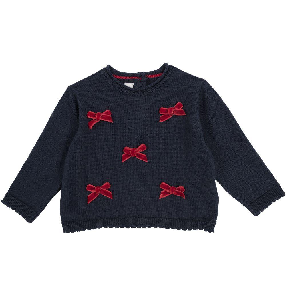 Купить 9069305, Джемпер детский Chicco р.80 цвет темно-синий с красными бантиками, Кофточки, футболки для новорожденных