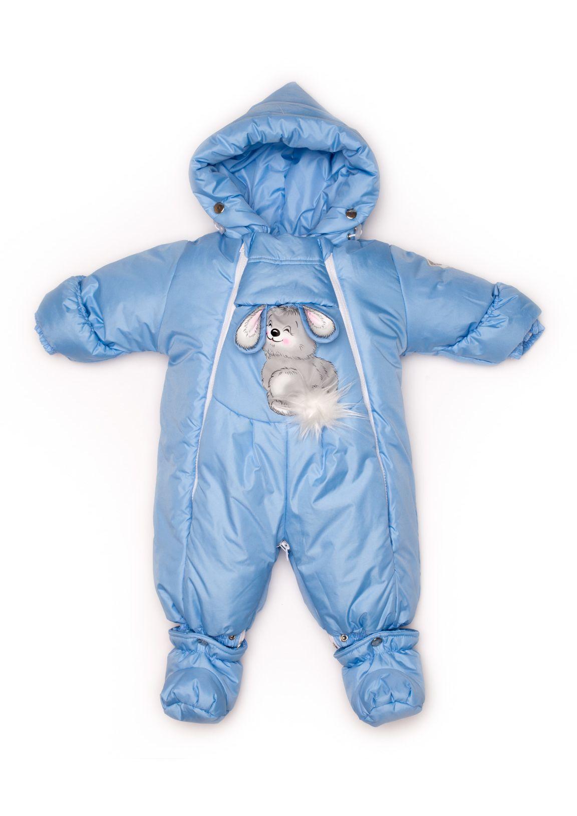 Купить 147шм, Комбинезон-трансформер Malek-Baby Зима подклад отстёгивается Голубой р.80, Комбинезоны трансформеры для новорожденных