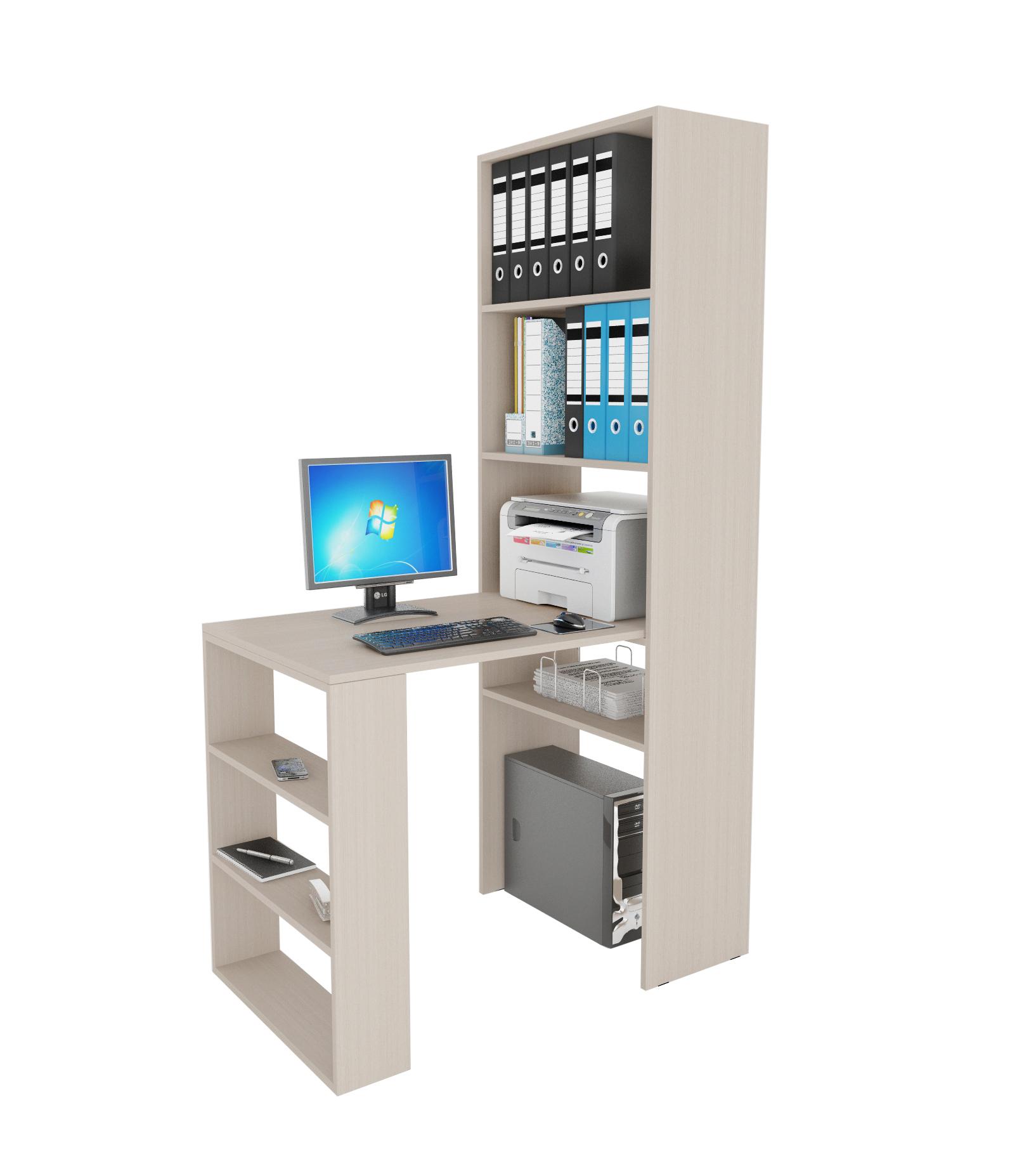 Компьютерный стол в комплекте МФ Мастер Рикс-4+Рикс-5 110x63,2x177, дуб молочный