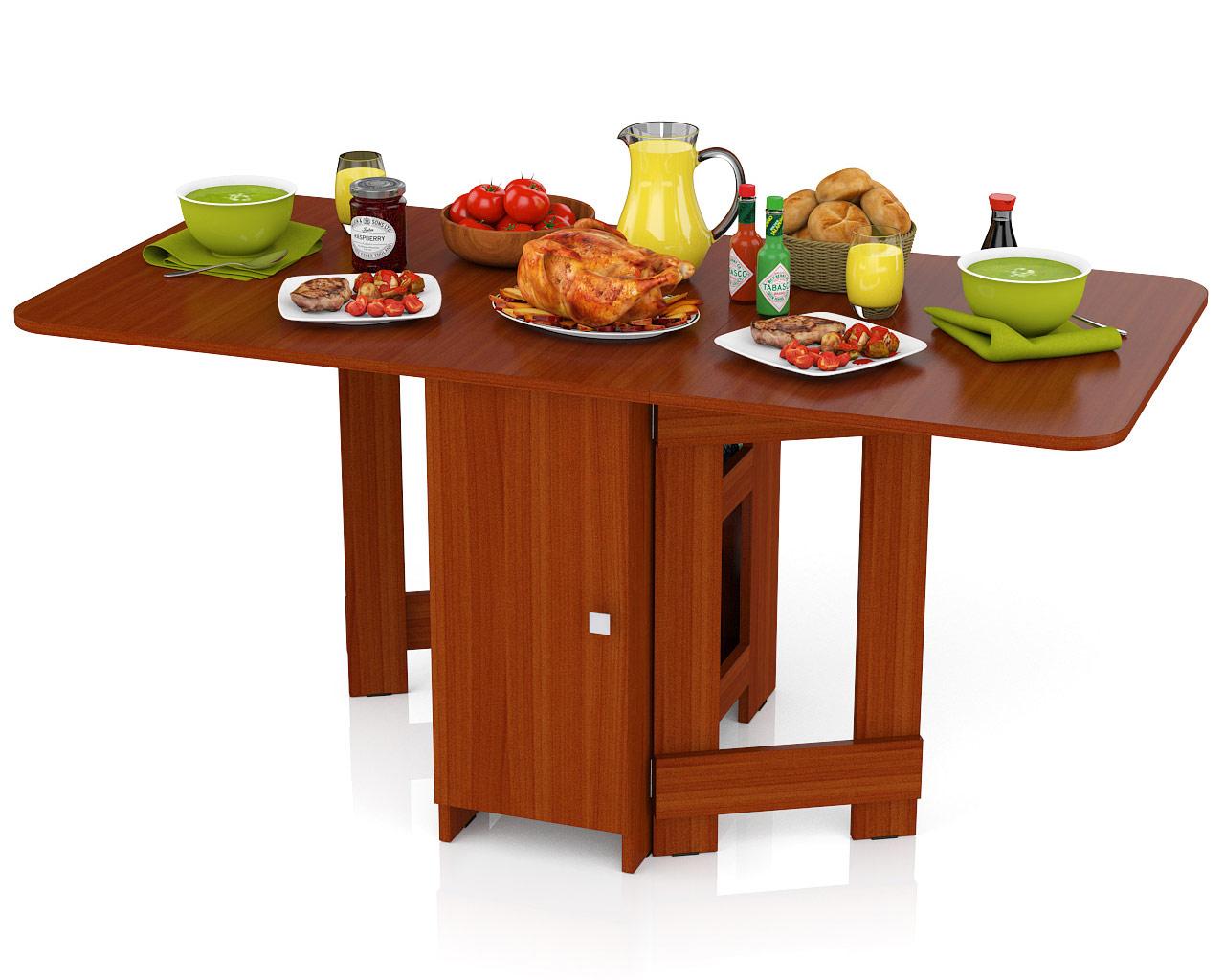 Стол-книжка обеденный Мебельный Двор СО-03 яблоня 163х80х75 см., сложенный 42х80х75 см. фото