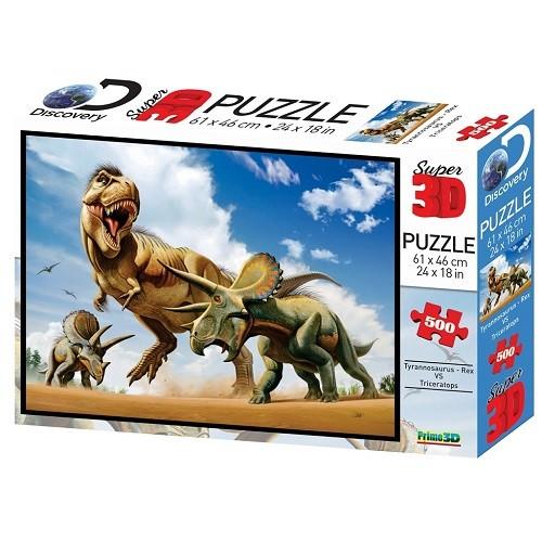 Купить Пазл 3D 500 Тираннозавр против трицератопса, Prime 3D, 3D пазлы