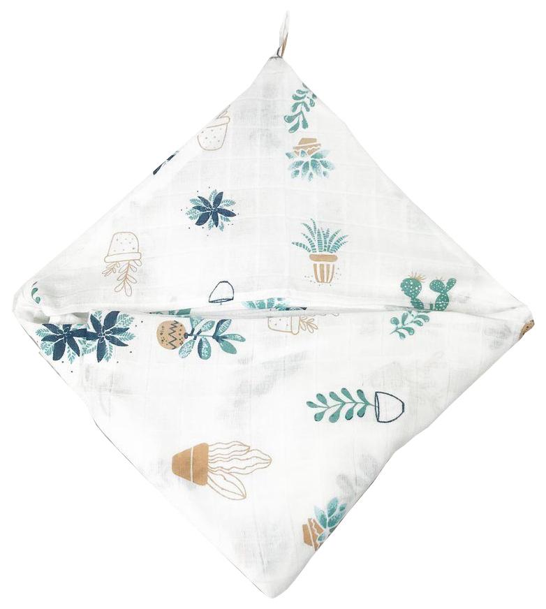 Купить Простынка Amarobaby с уголком муслиновая для купания Bath time Растения, 120х70 см,