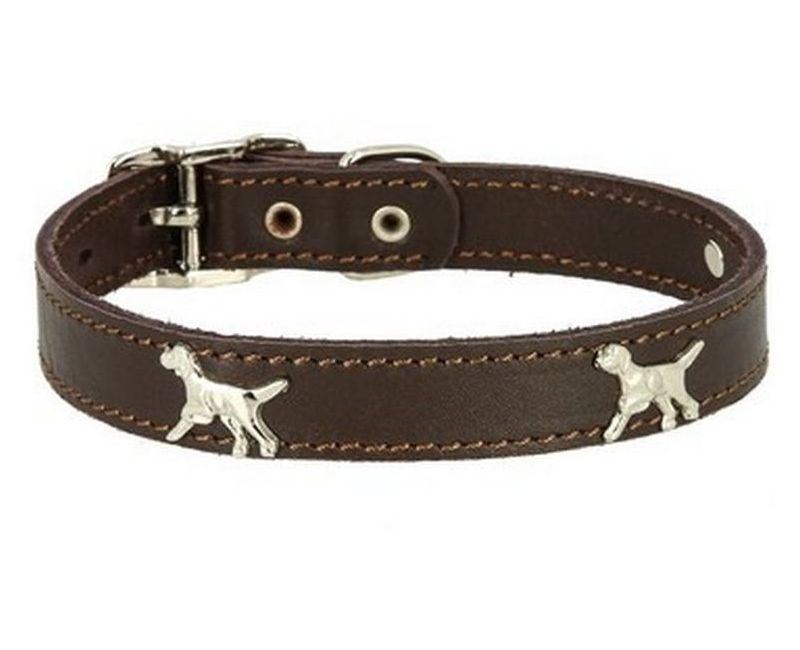 Ошейник Каскад Флер кожаный с украшением Собака цвет коричневый 25 ммх39-46см, Коричневый