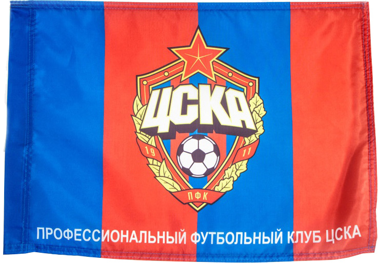 Флаг ПФК ЦСКА Эмблема 45 х 60 красный/синий фото