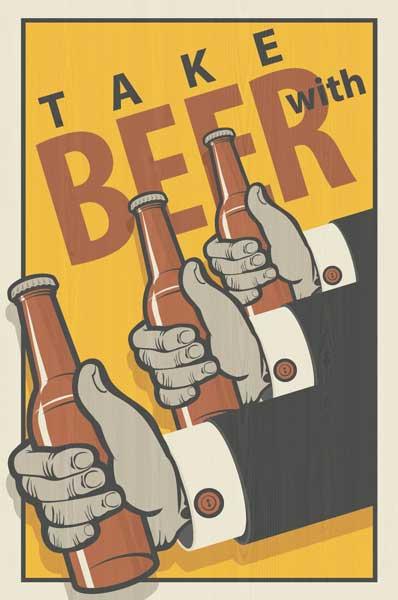 Картина на мдф 30x40 Take with beer Ekoramka ME-105-326