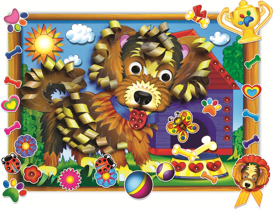 Купить Бумажная аппликация Щенок Рыжий кот А-8399, Детские аппликации