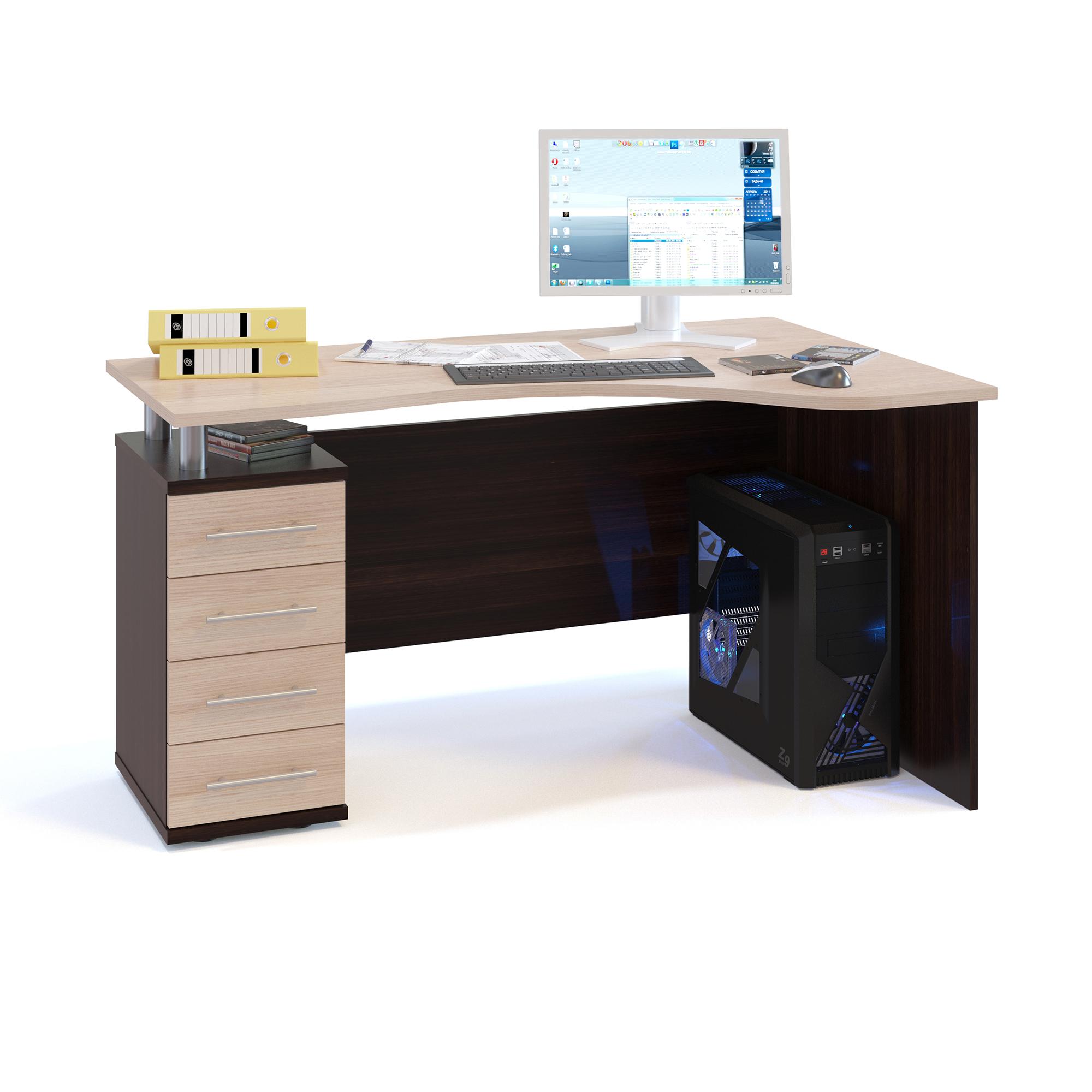 Компьютерный стол СОКОЛ КСТ-104.1Л 140x86x75, дуб венге/белёный дуб
