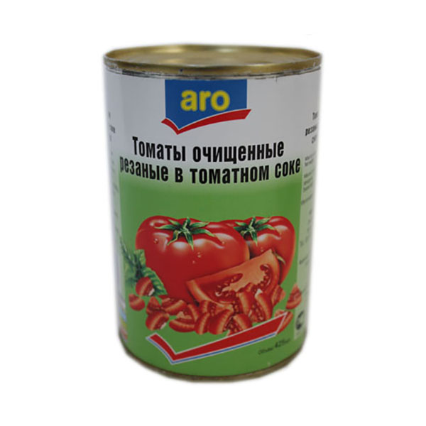Томаты Aro очищенные резаные в томатном соке 400 г