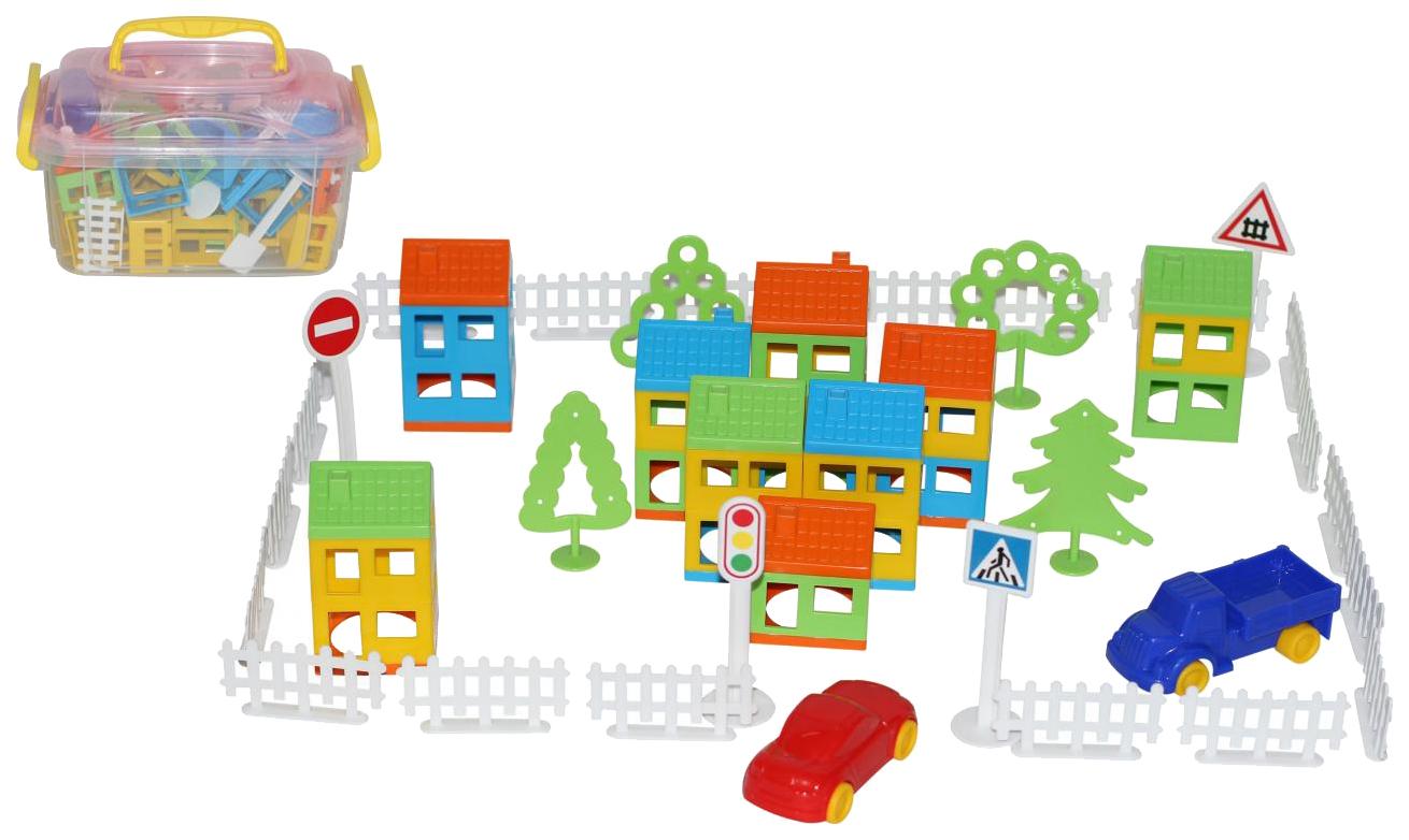 Конструктор пластиковый Полесье Построй свой город 80 элементов в контейнере