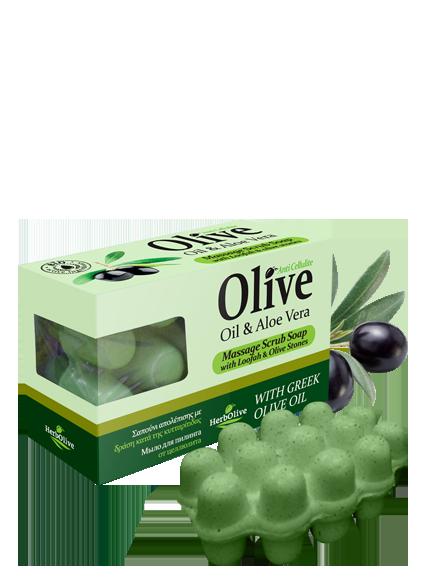 Массажное мыло для пилинга Herbolive с алоэ