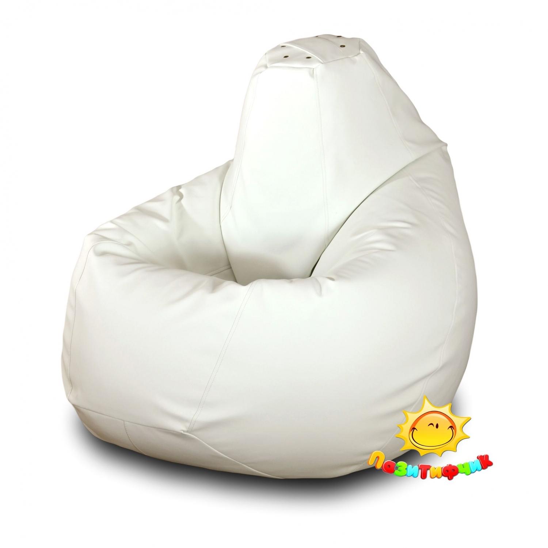 Кресло-мешок Pazitif Груша Пазитифчик Экокожа, размер XL, экокожа, белый