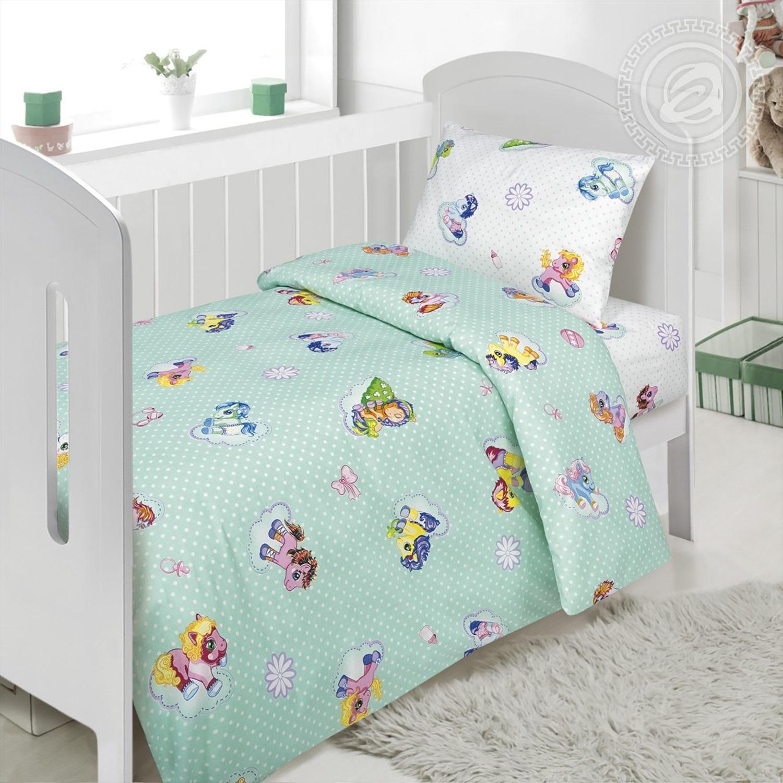 Комплект постельного белья в детскую кроватку Бусинка зеленая АРТПОСТЕЛЬ 922