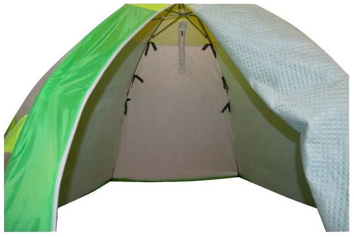 Миниатюра Палатка-автомат Медведь 2 двухместная голубая/зеленая №3