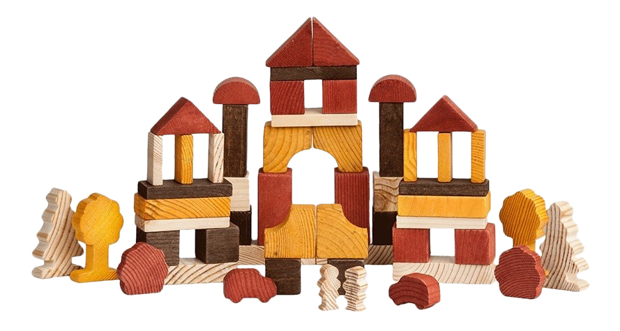 Купить Конструктор деревянный Томик Конструктор День 55 элементов 6674-22,