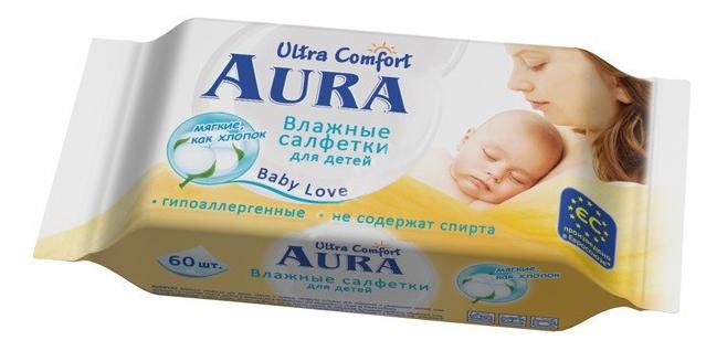 Купить Для детей 60 шт., Влажные салфетки Aura Ultra Comfort, 60 шт., Детские влажные салфетки