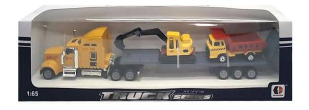 Набор машин строительной техники Junfa Toys Автовоз с краном и самосвалом фото