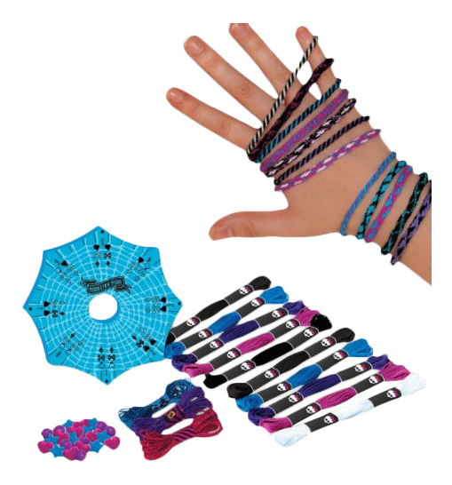 Купить 64054, Набор для плетения Fashion Angels Monster High Разноцветные браслеты из ниток,