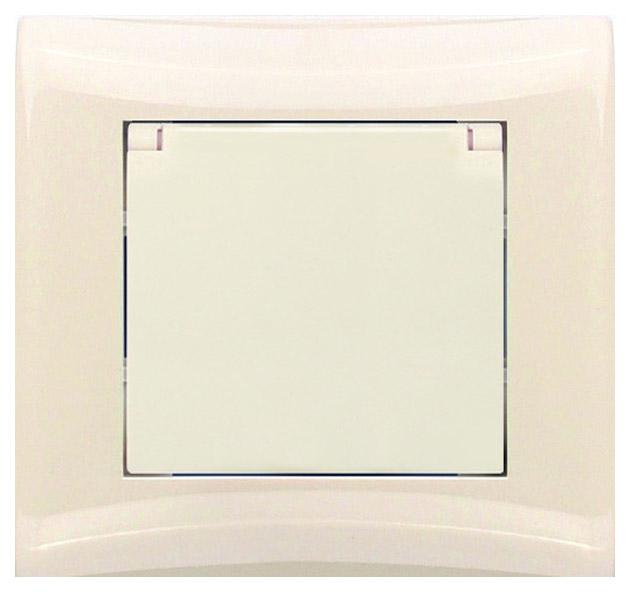Розетка бытовая одноместная с заземлением и крышкой в сборе Volsten V01-12-R18-S фото