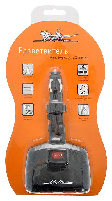 Разветвитель для прикуривателя Airline 8A 3 гн. ASP-3T-09
