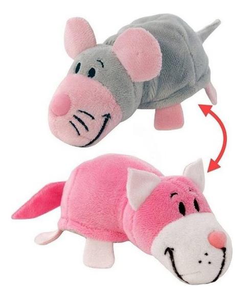 Купить Мягкая игрушка 1 TOY Вывернушка плюшевая Розовый кот Мышь серая 12 см, Мягкие игрушки животные