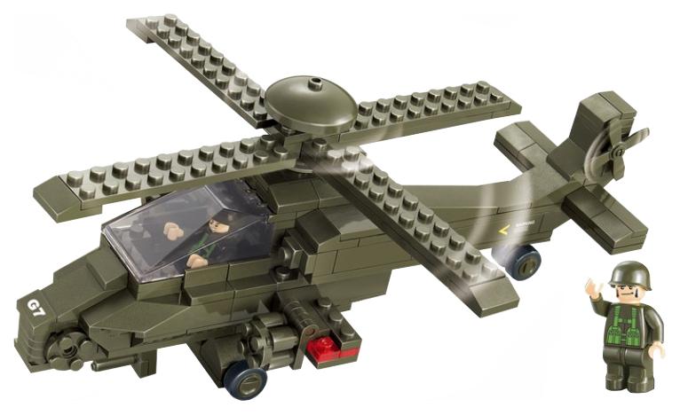 Купить Конструктор пластиковый Sluban сухопутные войска 2 военный вертолет 199 деталей M38-B0298, Конструкторы пластмассовые