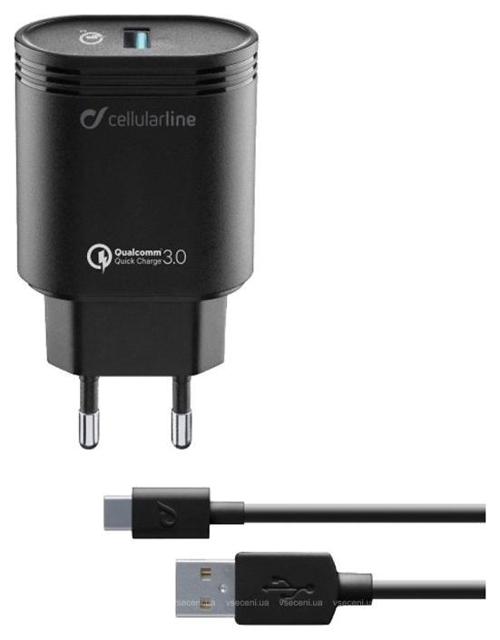 Сетевое зарядное устройство CELLULAR LINE ACHHUKITQCTYCK USB Kit QC + Type-C 1м, Black (ACHHUKITQCTYCK)