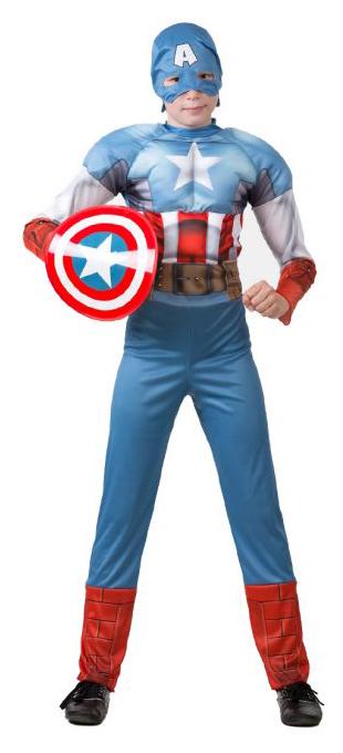 Купить 5091, Карнавальный костюм Батик Капитан Америка, цв. голубой р.122,