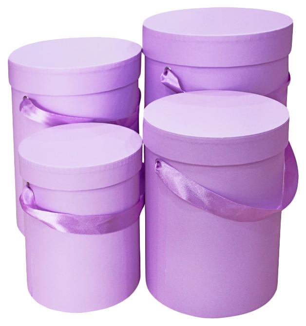 Набор подарочных картонных коробок для ов, 4 шт. от 15x20 см до 21x32 см,  фиалковый