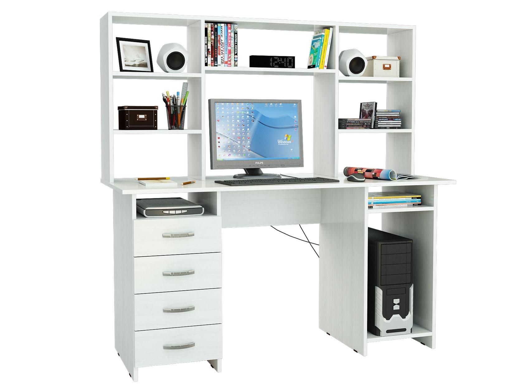 Компьютерный стол МФ Мастер Милан-6 143,6x60x145, белый
