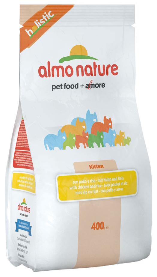 Сухой корм для котят Almo Nature Holistic Kitten, с курицей и коричневым рисом, 0,4кг