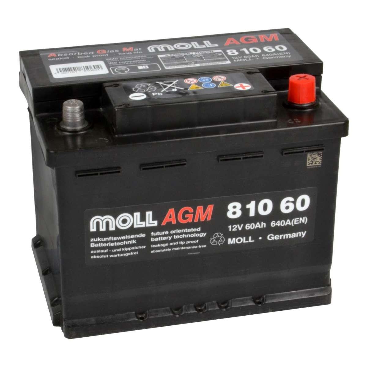 Аккумулятор MOLL AGM 60R Start-Stop 640A 242x175x190 81060 фото