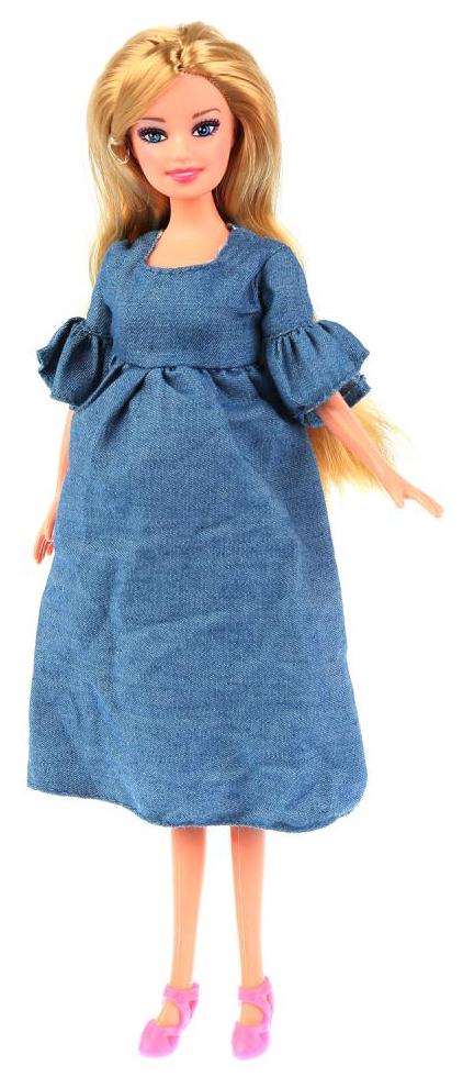 Кукла Карапуз София в джинсовом платье беременная 29 см