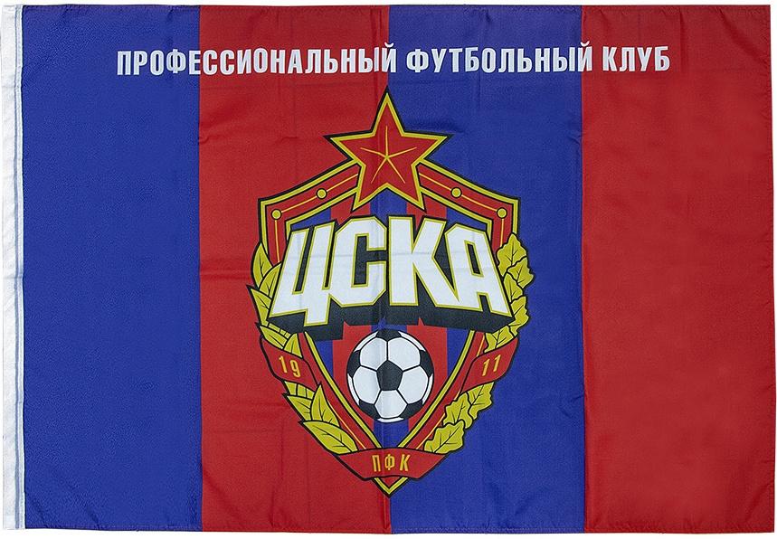 Флаг ПФК ЦСКА Эмблема 90 х 135 красный/синий фото