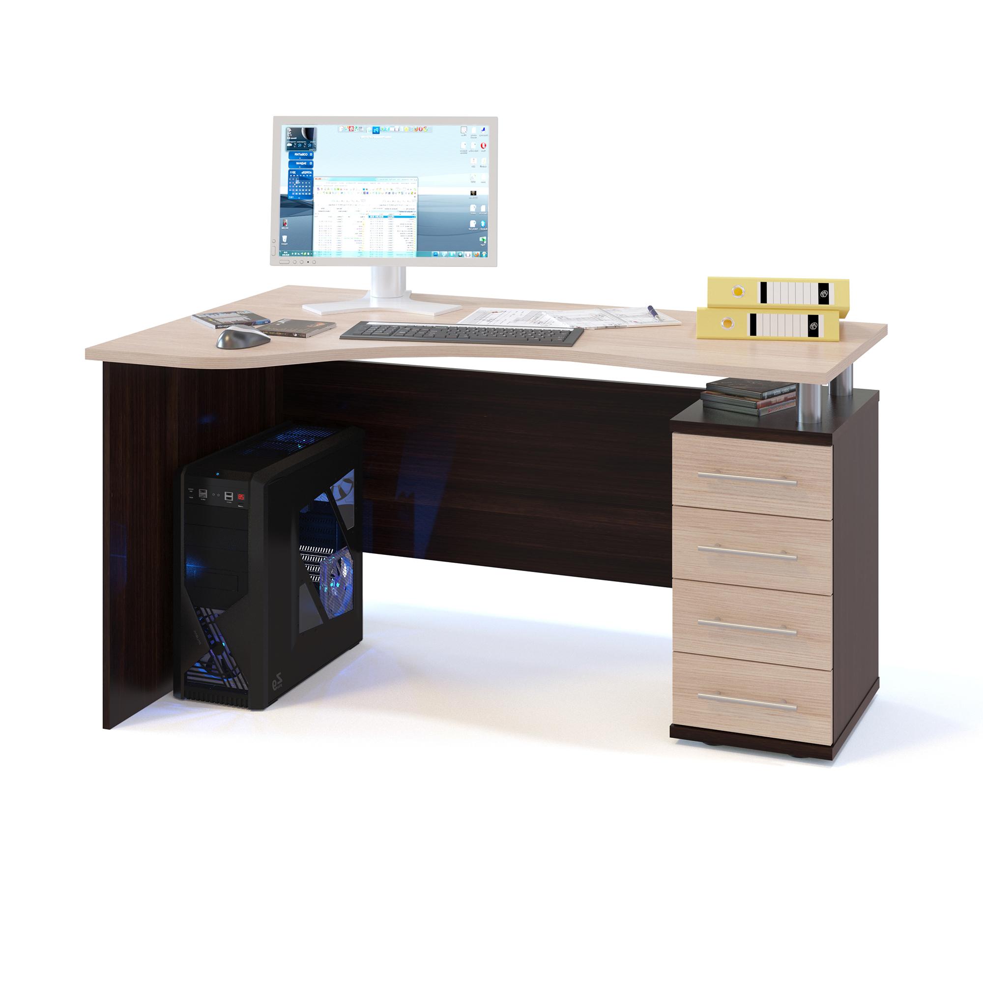 Компьютерный стол СОКОЛ КСТ-104.1П 140x86x75, дуб венге/белёный дуб