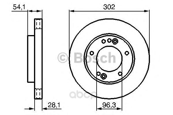 Тормозной диск Bosch передний для Kia Sorento (jc) 2.4-3.5 2002- 0986479230