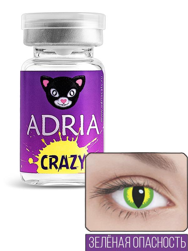 Купить Контактные линзы ADRIA CRAZY 1 линза 0, 00 green banshee