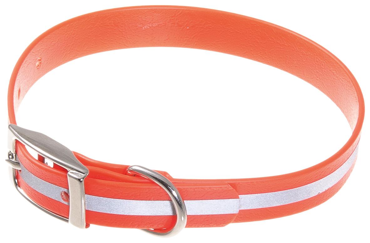 Ошейник для собак V.I.Pet, биотановый светоотражающий, оранжевый, 27-35 см x 15 мм