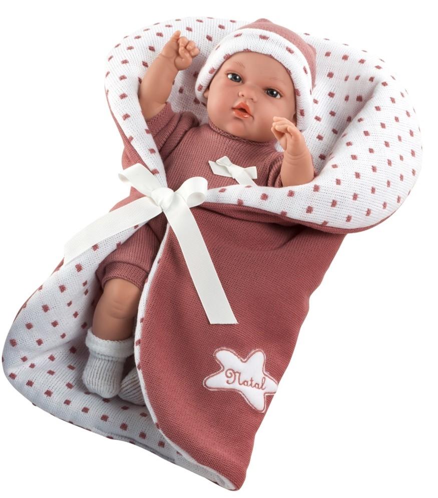 Кукла Arias ELEGANCE мягконабивная в бордовом одеяле с функцией плача 33 см