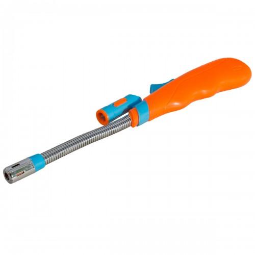 Зажигалка бытовая газовая для газовой плиты с фонариком оранжевая
