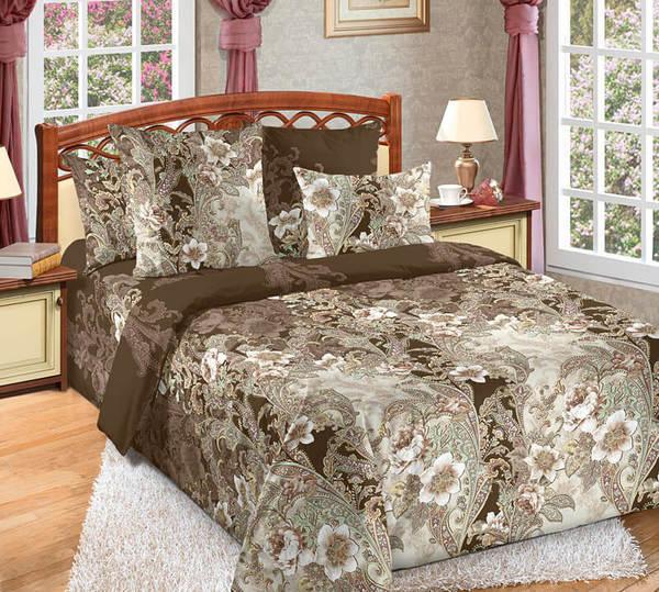 Комплект постельного белья Вальс Семейный, бязь, коричневый