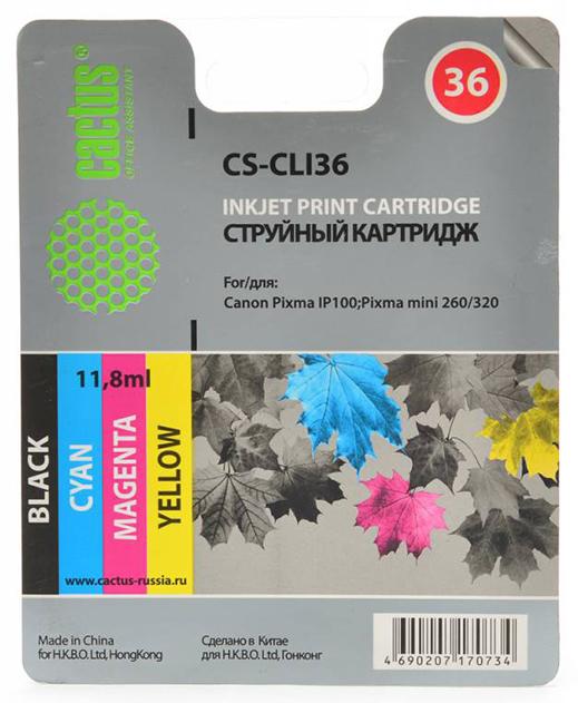 Картридж для струйного принтера Cactus CS-CLI36 цветной