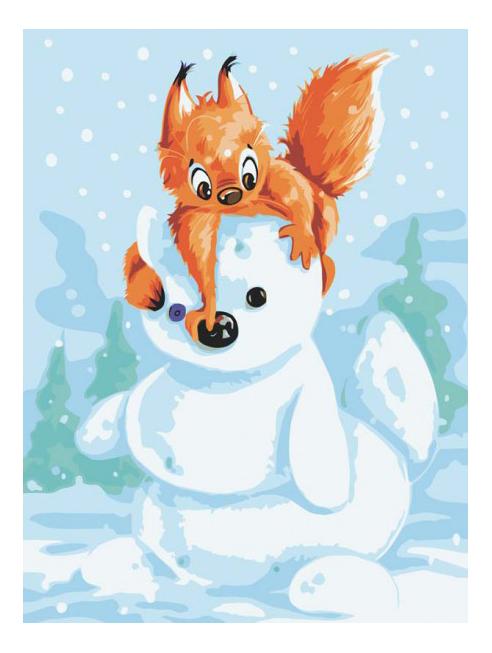 Раскраска по номерам Белоснежка Белка и снеговик