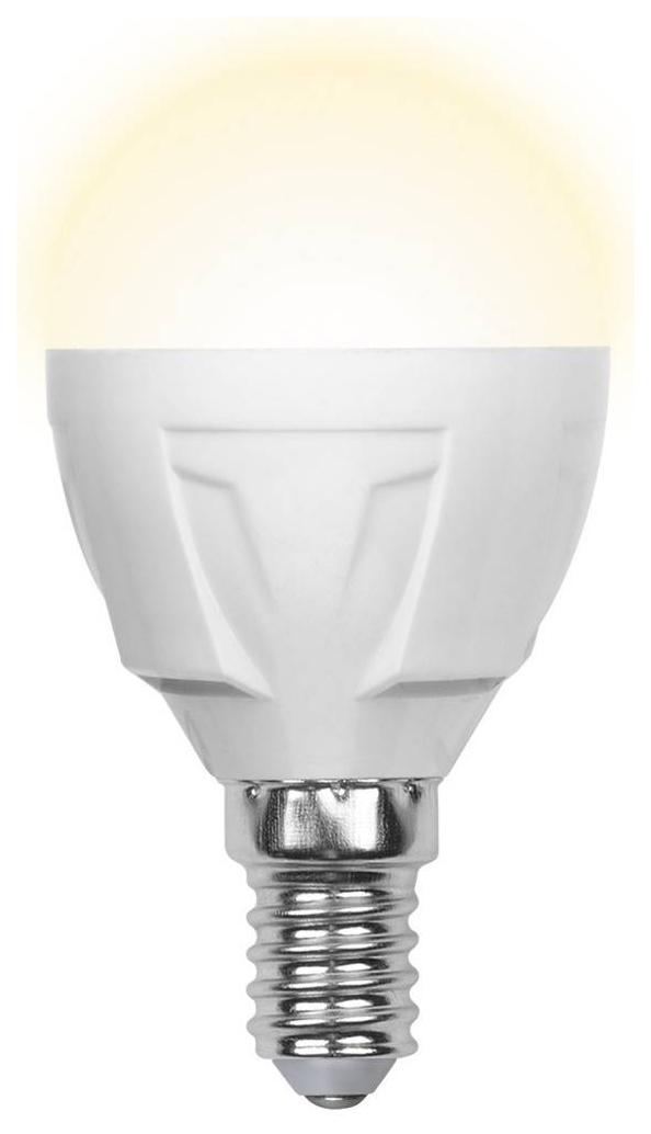 Лампа светодиодная (09443) E14 6W 3000K шар матовый LED-G45-6W/WW/E14/FR/S