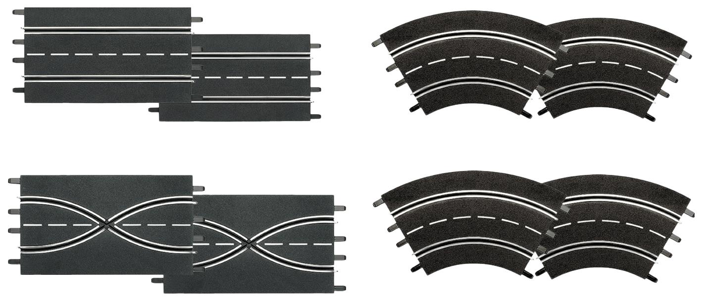 Купить 2 прямые cтандартные, 2 прямые с возможностью смены полосы, 4 gоворота 1/60, Набор (2 Прямые Стандартные, 2 Прямые с возможностью смены полосы, 4 Поворота 1/60°), Carrera, Машинки-трансформеры