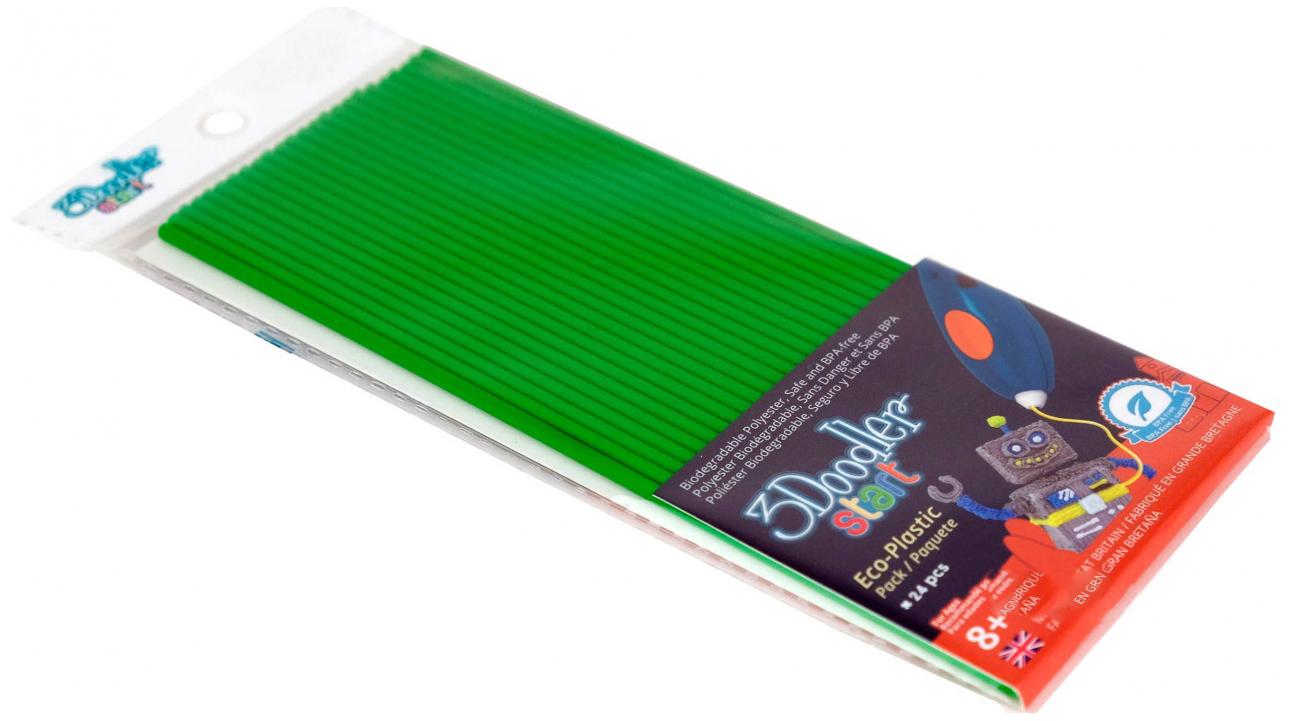 Купить Эко-пластик к 3Д ручке 3Doodler Start, цвет зеленый 24 шт, Wobble Works, 3D ручки