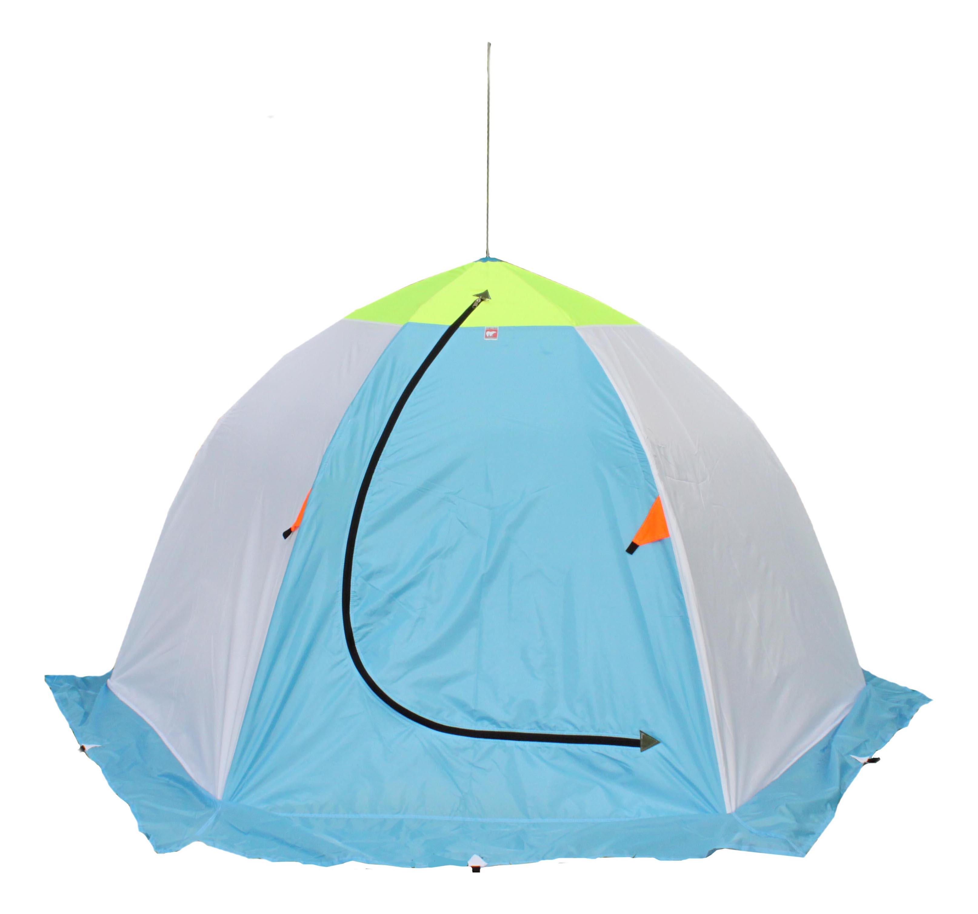 Палатка Медведь 3 трехместная серая/голубая