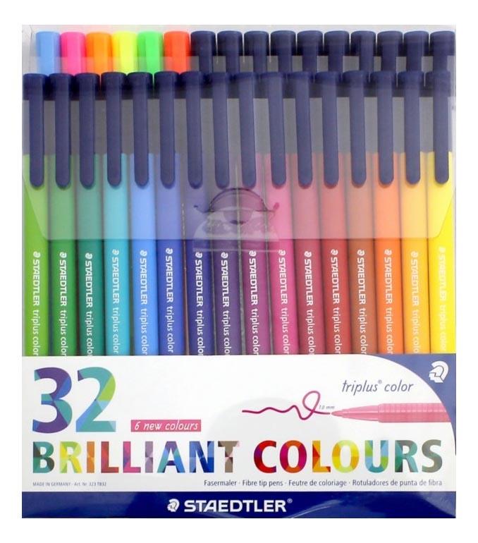 Купить Набор фломастеров Staedtler Triplus Сolor 32 цвета, трехгранные, яркие цвета, Фломастеры