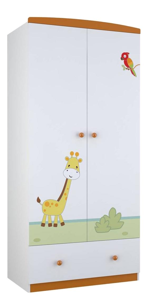 Купить Детский шкаф двухсекционный Polini Basic Джунгли белый-оранжевый, Шкафы в детскую комнату