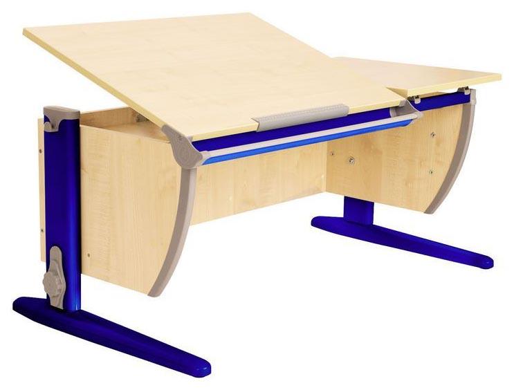 Парта Дэми СУТ 17-02 с двумя задними и боковой приставками Клен Синий 120 см