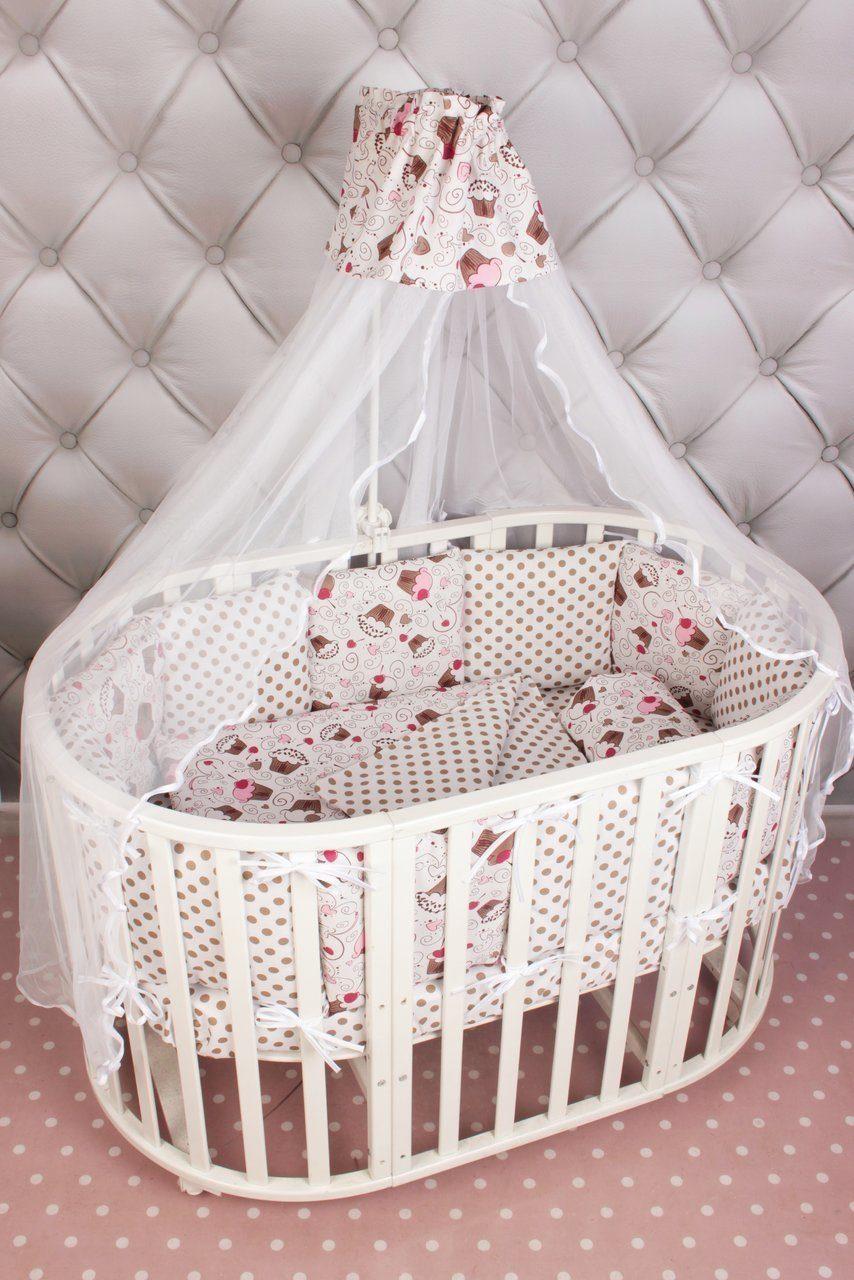 Комплект Premium в кроватку 19 предметов (7+12 бортиков) AmaroBaby ДЕСЕРТ (розовый, бязь)